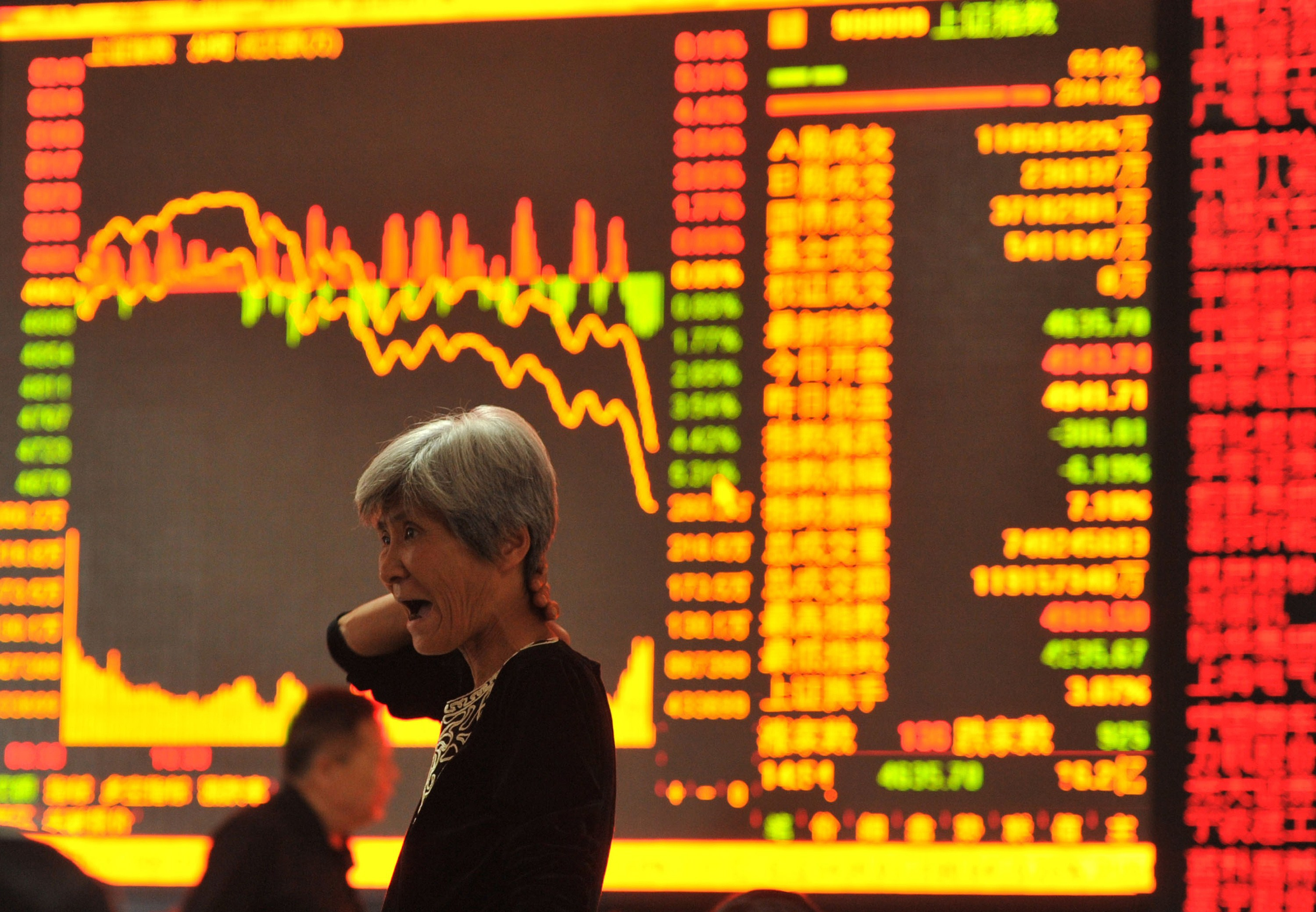 A stock investor gestures as she checks share prices at a security firm in Fuyang, east China's Anhui province on May 28, 2015. Chinese stocks plunged 6.5 percent on May 28 on concerns over tight liquidity and stricter requirements for margin trading, after closing at a more than seven-year high the previous day, dealers said.   AFP PHOTO    CHINA OUT        (Photo credit should read STR/AFP/Getty Images)