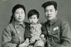 Jing with her parents, 1953