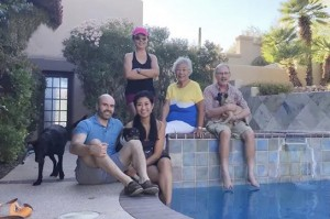 Left to right: son-in-law, daughter, Jing, Jing's mom, Jing's husband at daughter's house in Tucson