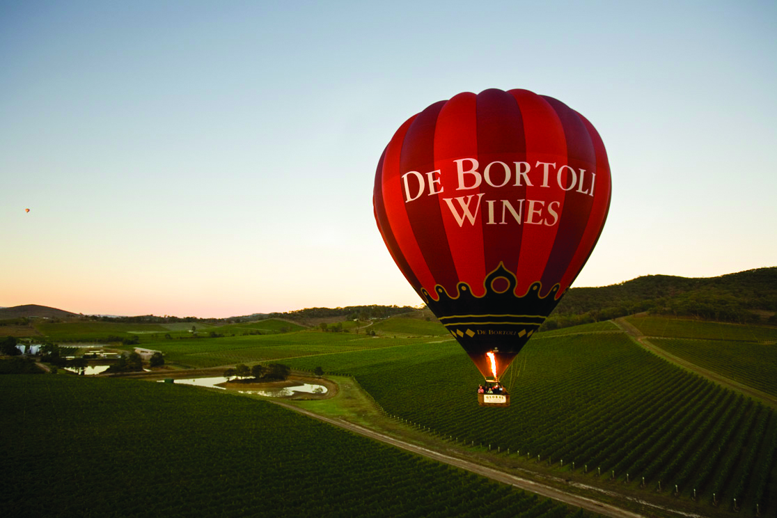 Global Ballooning's De Bortoli Balloon over De Bortoli Vineyards in Victoria's Yarra Valley