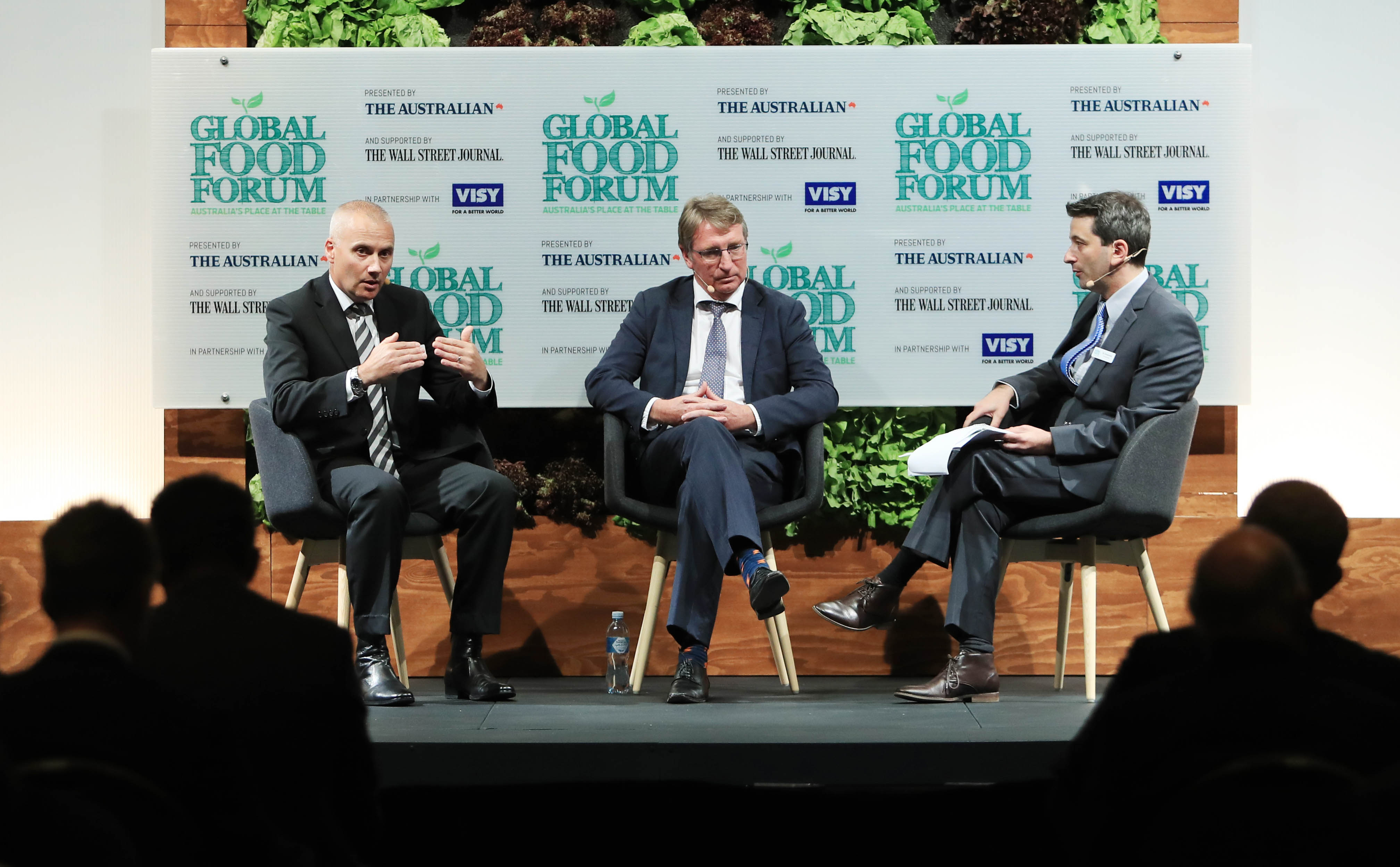 28/03/17 Managing director of Fonterra Australia, RenŽ Dedoncker and Barry Irvin from Bega Cheese speaking to The Australian's Eli Greenblat during the Global Food Forum. Aaron Francis/The Australian