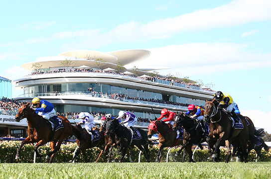 MELBOURNE, AUSTRALIA - NOVEMBER 10: Mark Zahra rides #3 Santa Ana Lane to win race seven the VRC Sprint Classic Stakes during Stakes Day at Flemington Racecourse on November 10, 2018 in Melbourne, Australia. (Photo by Robert Cianflone/Getty Images)