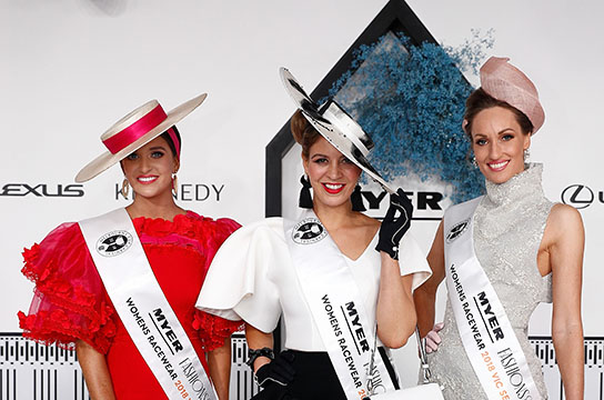 MELBOURNE, AUSTRALIA - NOVEMBER 08:  Myer Fashion on the Fields racewear Victorian final winners (L-R) 2nd Jordan Beard, 1st Kelli Odell, 3rd Lindsay Ridings are seen during Oaks Day at Flemington Racecourse on November 8, 2018 in Melbourne, Australia.  (Photo by Daniel Pockett/Getty Images for the VRC) *** Local Caption *** Jordan Beard;Kelli Odell;Lindsay Ridings