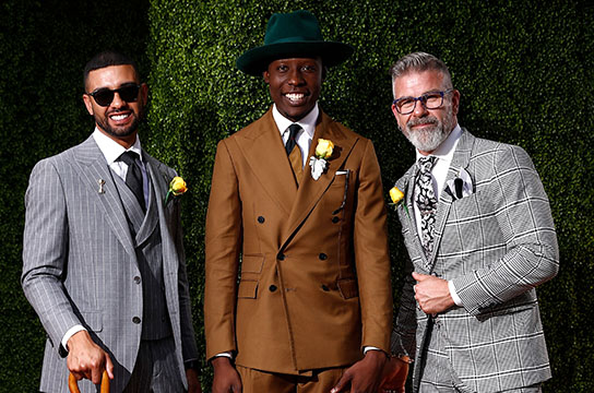 MELBOURNE, AUSTRALIA - NOVEMBER 06:  (L-R) Patrick Sham Yuen 2nd place, Palmer Mutandwa 1st place and Dave Ferris 3rd place Mens racewear winners for Myers Fashions on the Field during Cup Day at Flemington Racecourse on November 6, 2018 in Melbourne, Australia.  (Photo by Daniel Pockett/Getty Images for the VRC) *** Local Caption *** Patrick Sham Yuen;Palmer Mutandwa;Dave Ferris